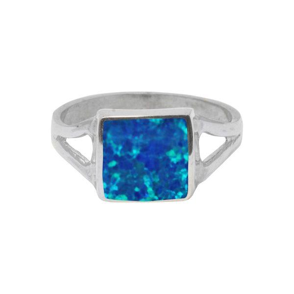 White Gold Opalite Cobalt Blue Square Ring