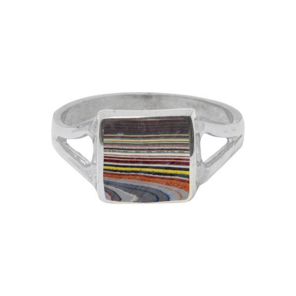 White Gold Fordite Square Ring