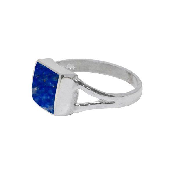 White Gold Lapis Square Ring