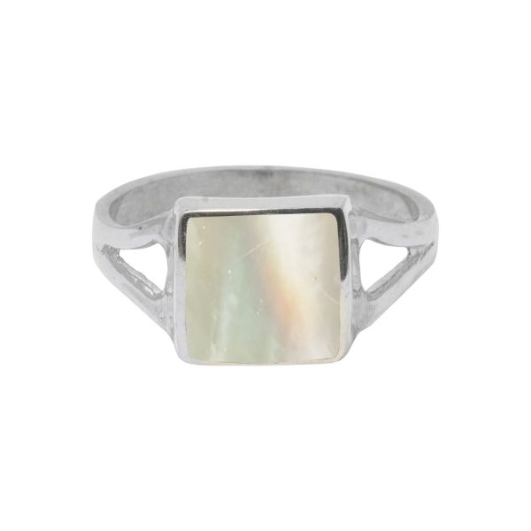 White Gold Mother of Pearl Square Ring