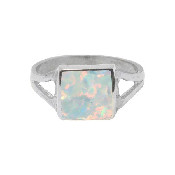 White Gold Opalite Sun Ice Square Ring