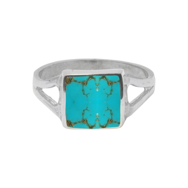 White Gold Turquoise Square Ring