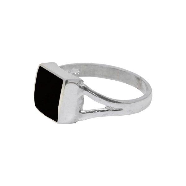 White Gold Whitby Jet Square Ring