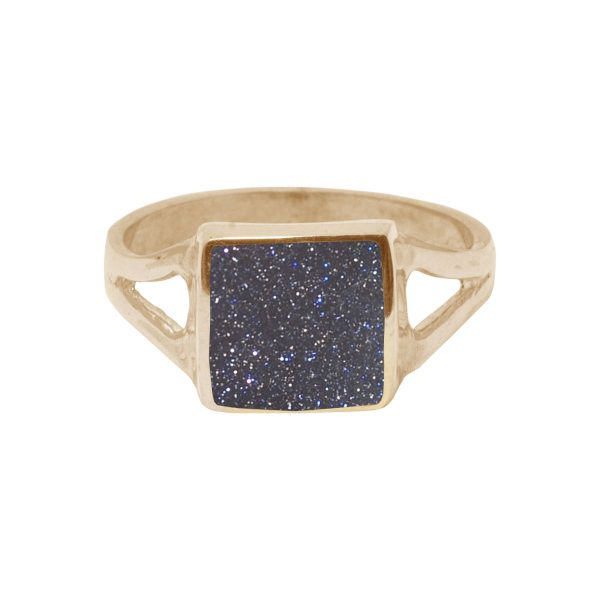 Yellow Gold Blue Goldstone Square Ring
