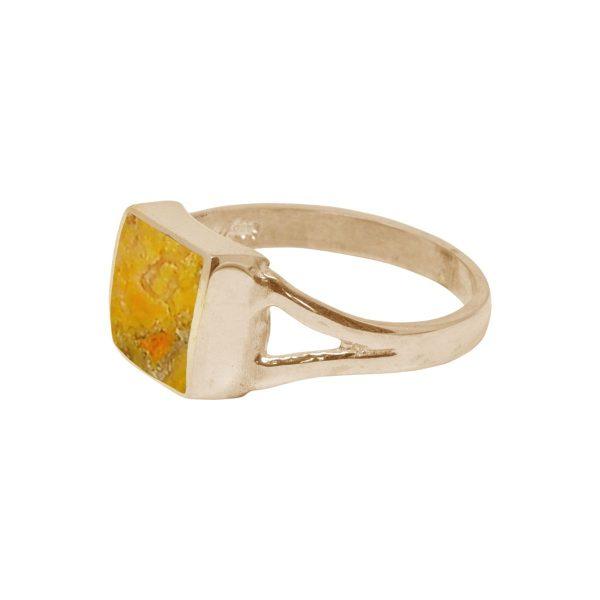 Yellow Gold Bumblebee Jasper Square Ring