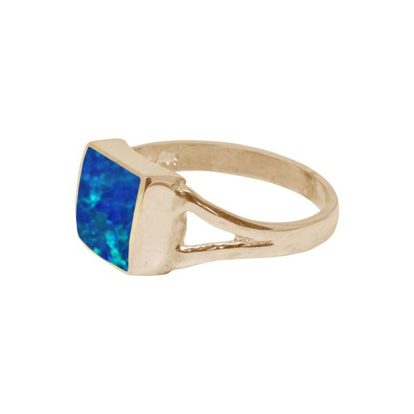 Yellow Gold Opalite Cobalt Blue Square Ring