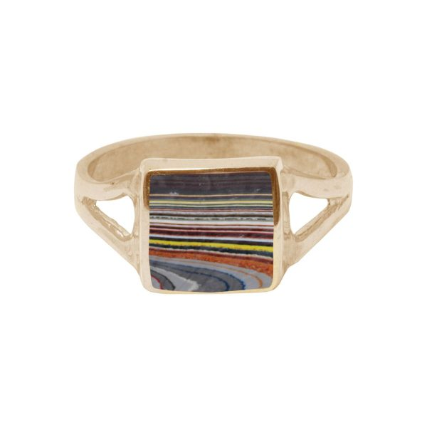 Yellow Gold Fordite Square Ring