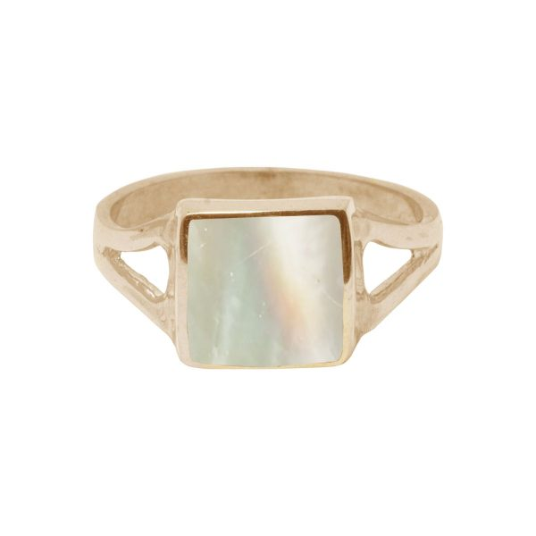 Yellow Gold Mother of Pearl Square Ring