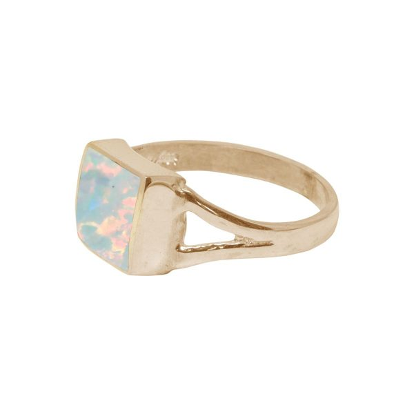 Yellow Gold Opalite Sun Ice Square Ring