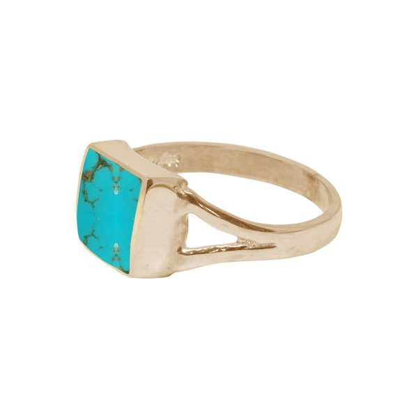 Yellow Gold Turquoise Square Ring
