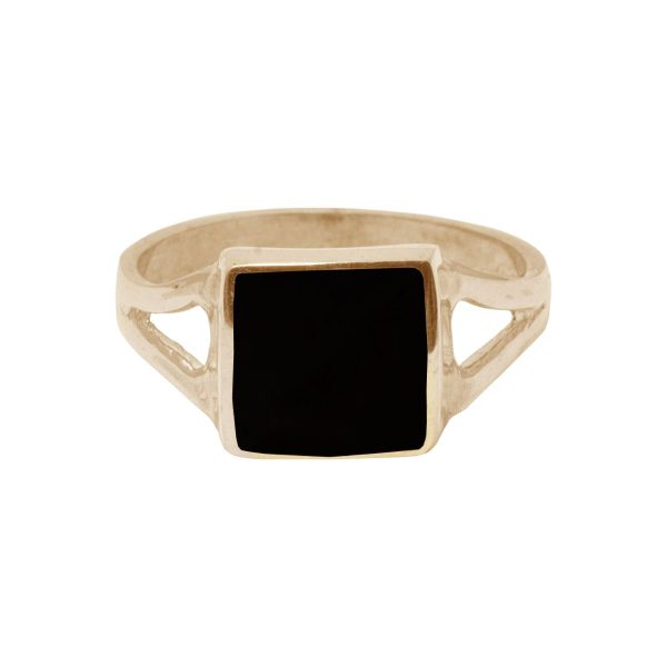 Yellow Gold Whitby Jet Square Ring