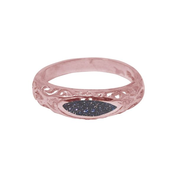 Rose Gold Blue Goldstone Ring