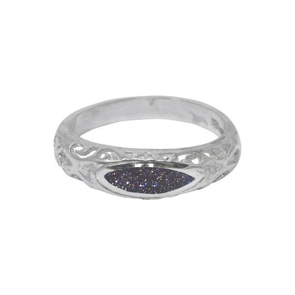 Silver Blue Goldstone Ring