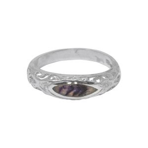 Silver Blue John Ornate Ring