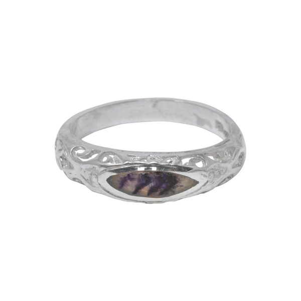 Silver Blue John Ornate Ring