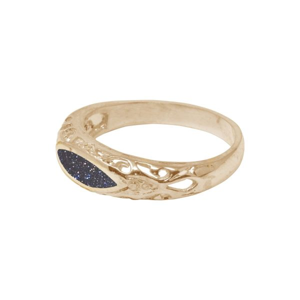 Yellow Gold Blue Goldstone Ring