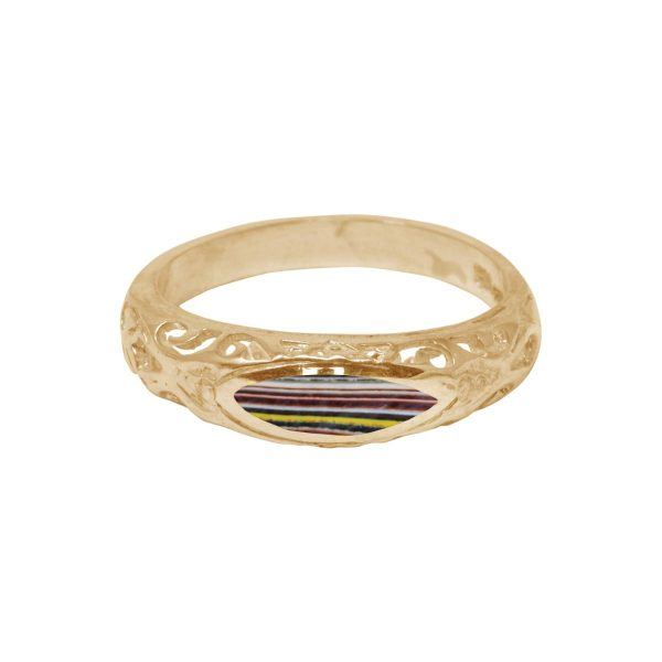 Yellow gold Fordite Ring