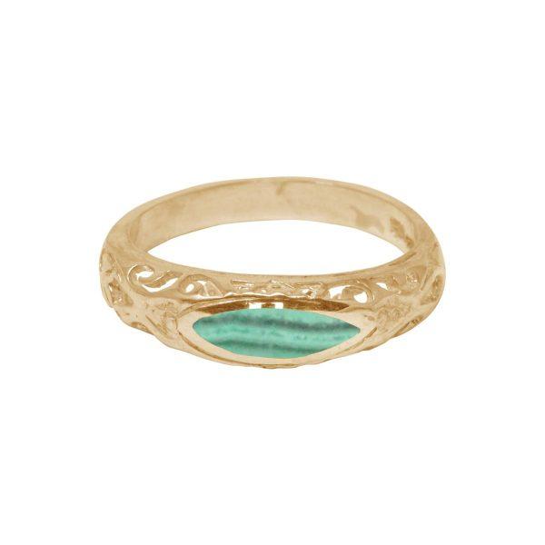 Yellow Gold Malachite Ring
