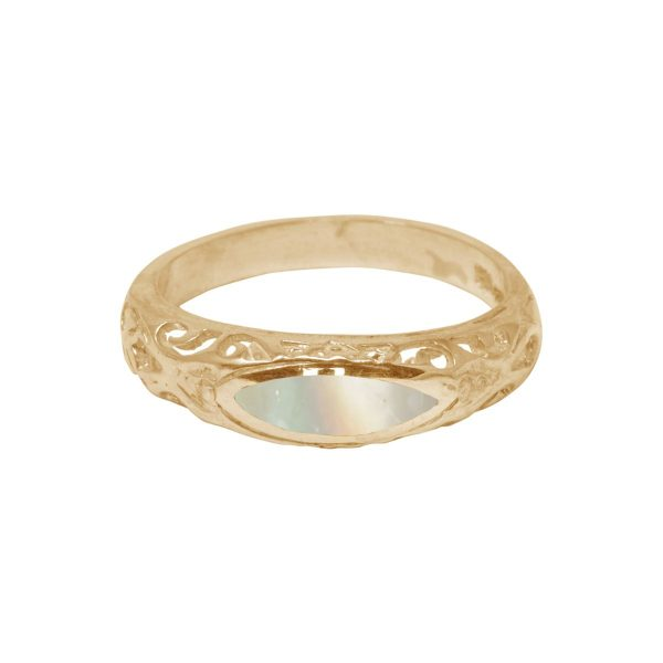 Yellow Gold Mother of Pearl Ring