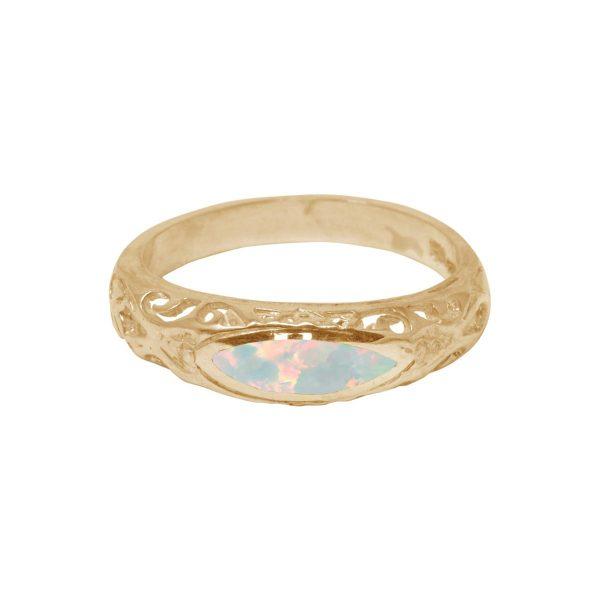 Yellow Gold Opalite Sun Ice Ring