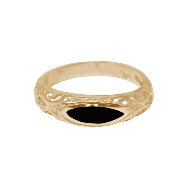Yellow Gold Whitby Jet Ring