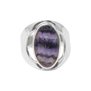 Silver Blue John Oval Stone Ring
