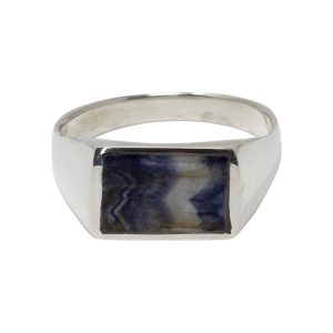 Silver Blue John Oblong Stone Ring