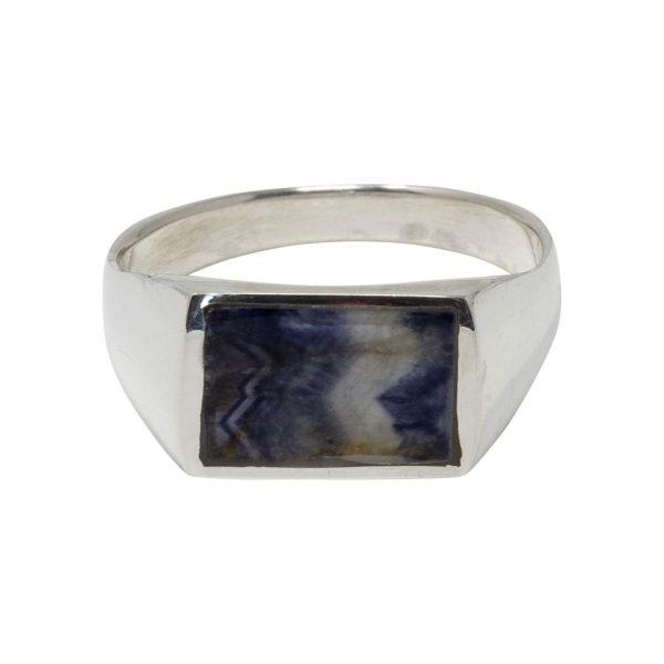 Silver Blue John Oblong Stone Ring