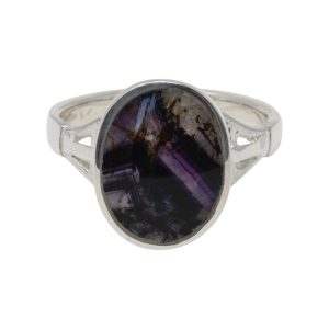 Silver Oval Blue John Stone Ring