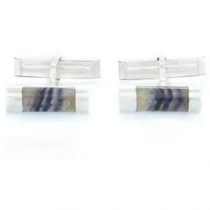 Tube Shaped Cufflinks in silver with blue john