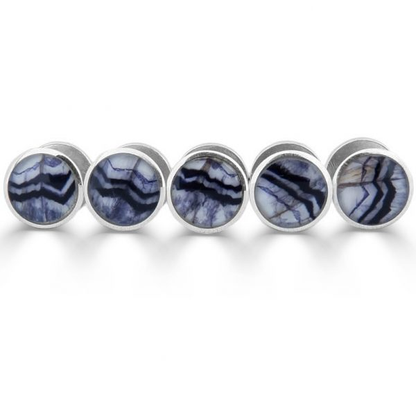 Round shirt studs in silver with blue john