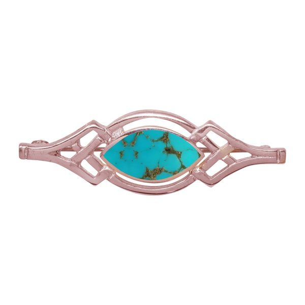 Rose Gold Turquoise Celtic Brooch