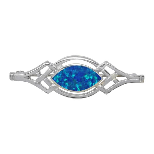 Silver Opalite Cobalt Blue Celtic Brooch