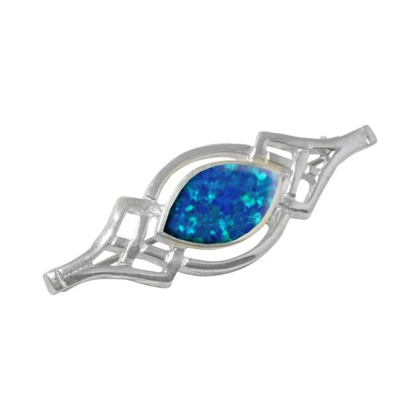 White Gold Opalite Cobalt Blue Celtic Brooch