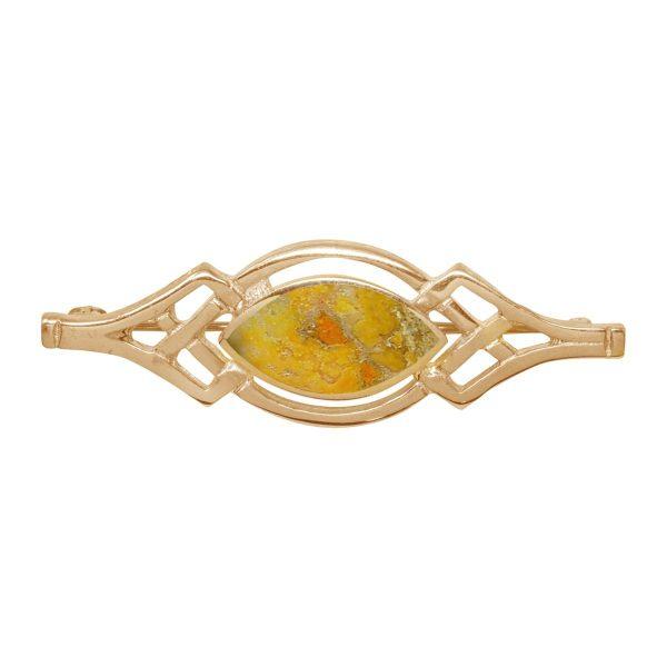 Yellow Gold Bumblebee Jasper Celtic Brooch
