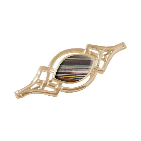 Yellow Gold Fordite Celtic Brooch
