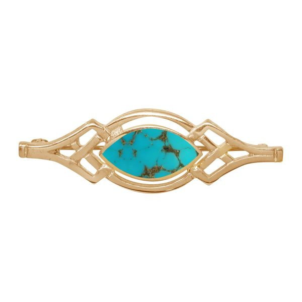 Yellow Gold Turquoise Celtic Brooch