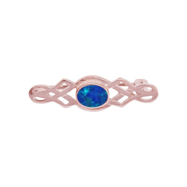 Rose Gold Opalite Cobalt Blue Celtic Brooch