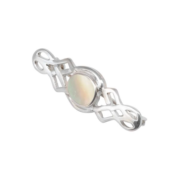White Gold Mother of Pearl Celtic Brooch