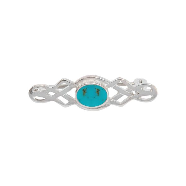 White Gold Turquoise Celtic Brooch