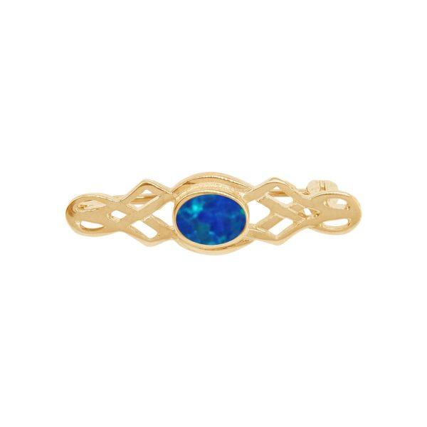 Yellow Gold Opalite Cobalt Blue Celtic Brooch