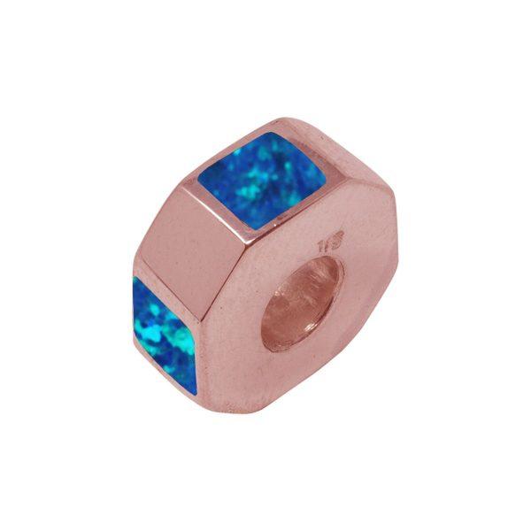Rose Gold Opalite Cobalt Blue Bead Charm