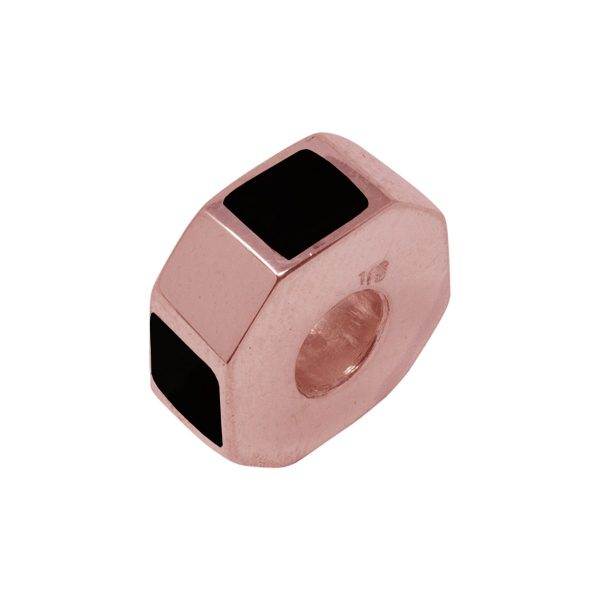Rose Gold Whitby Jet Bead Charm