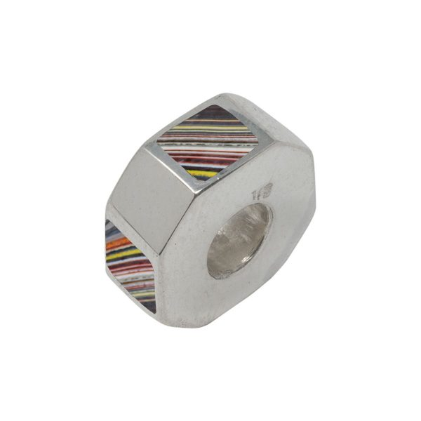 Silver Fordite Bead Charm