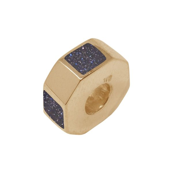 Yellow Gold Blue Goldstone Bead Charm
