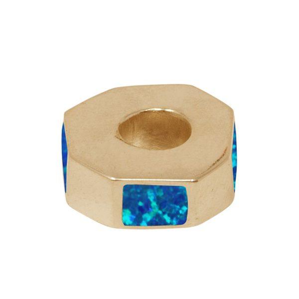 Yellow Gold Opalite Coablt Blue Bead Charm