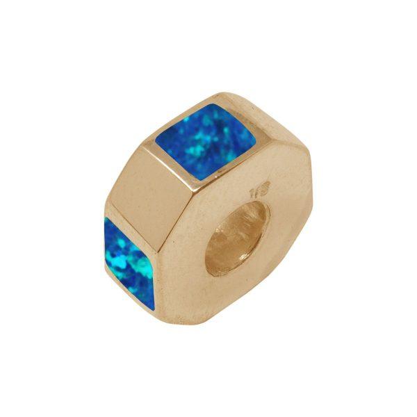 Yellow Gold Cobalt Blue Opalite Bead Charm