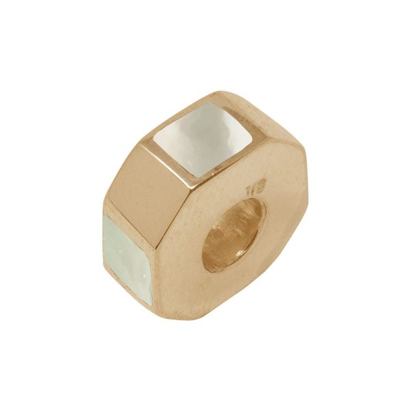 Yellow Gold Mother of Pearl Bead Charm