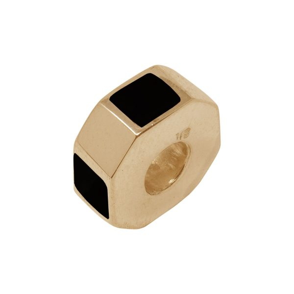 Yellow Gold Whitby Jet Bead Charm