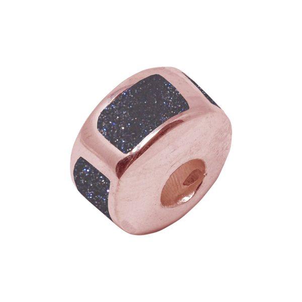 Rose Gold Blue Goldstone Bead Charm
